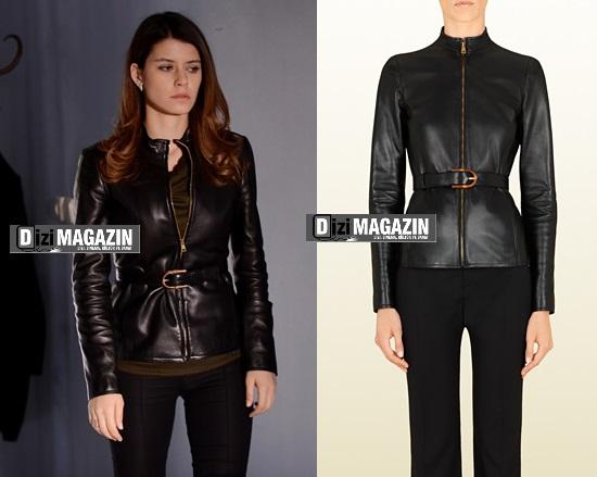 İntikam Yağmur kıyafetleri - Siyah Deri Ceket