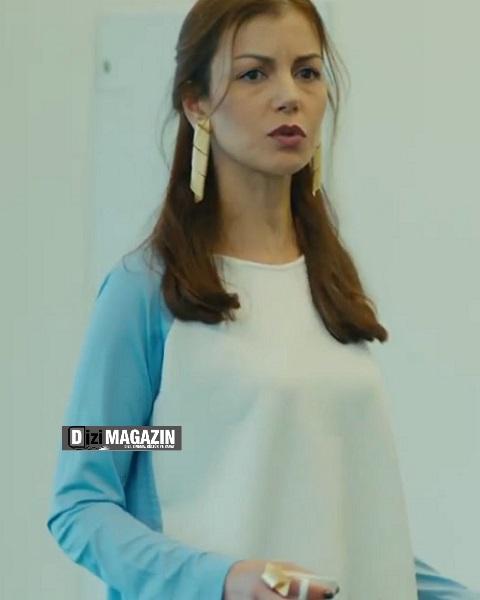 Medcezir Sedef Mavi Beyaz Bluz - NOI Triko