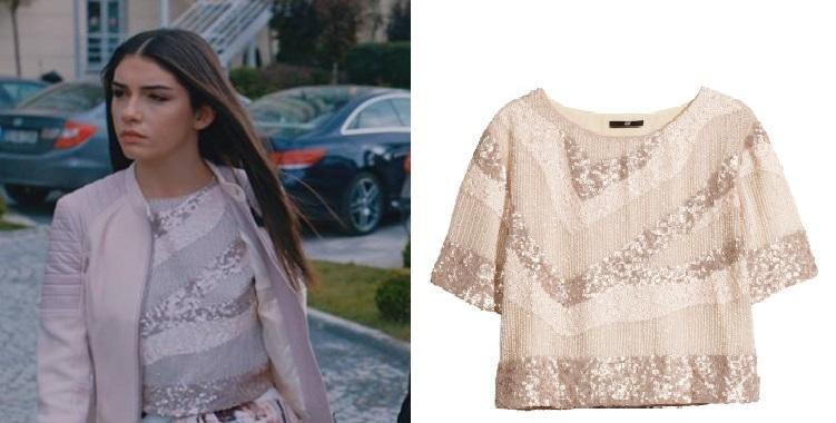 Eylül Krem Renk Pullu Bluz H&M Marka