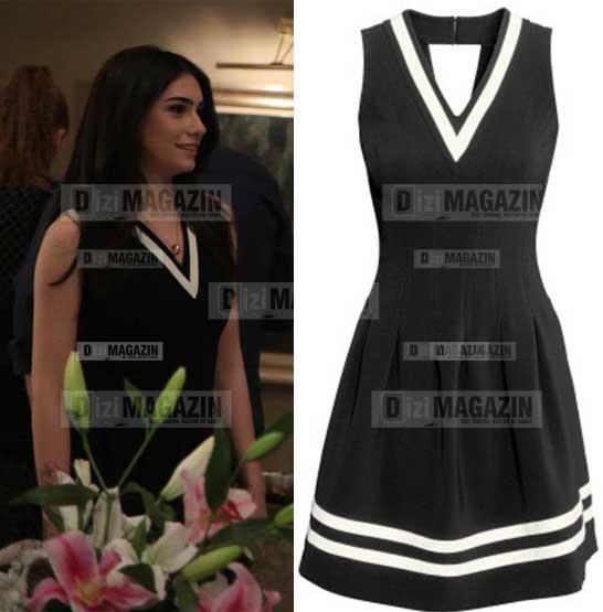 Eylül Siyah Renk Beyaz Çizgili Elbise H&M Marka