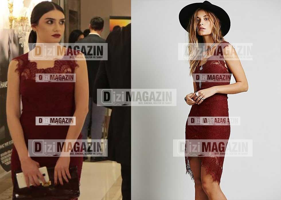 Eylül Kırmızı Dantel Yakalı Elbise freepeople Marka